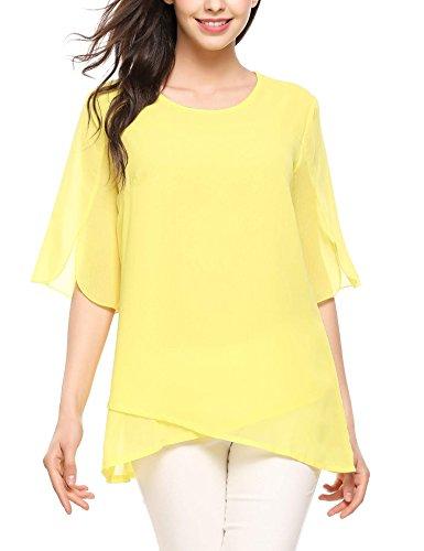 Zeagoo Women's Chiffon Blouse Loose Layered Flowy Casual Shirts Ruffle Half Sleeve Top Yellow