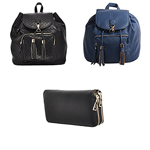 Mechaly - Bolso mochila  para mujer Black Backpack, Blue Backpack & Double Zip Wallet