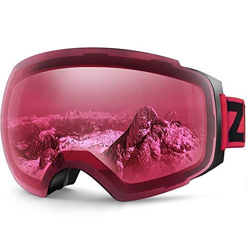 Zionor X4 Ski Snowboard Snow Goggles Magnet Dual Layers Lens Spherical Design Anti-Fog UV Protection Anti-Slip Strap for Men Women ()