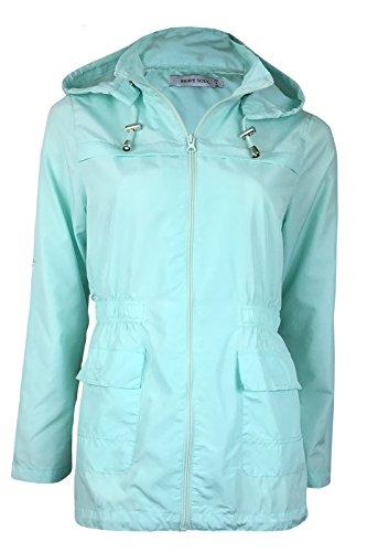 Brave Soul Ladies Womens Girls Plain MAC Cagoule Festival Raincoat with Fishtail (Sizes 8-24) Mint