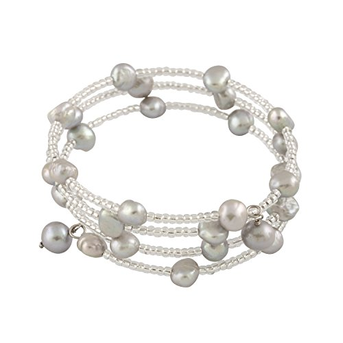 925 Sterling Silver Flex Fit Bangle Wrap Bracelet 3-Row Handpicked AA 6-7mm Baroque Freshwater Cultured Pearls
