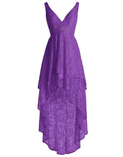 ALAGIRLS V Neck Hi Low Full Lace Bridesmaid Dress Homecoming Gown Dark PurpleUS10