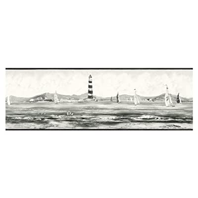 Lighthouse, Boats Wallpaper Border - Black and White