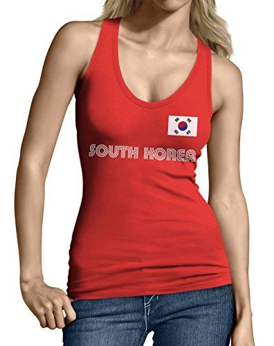 SpiritForged Apparel South Korea Soccer Jersey Junior's Tank Top, Red Small