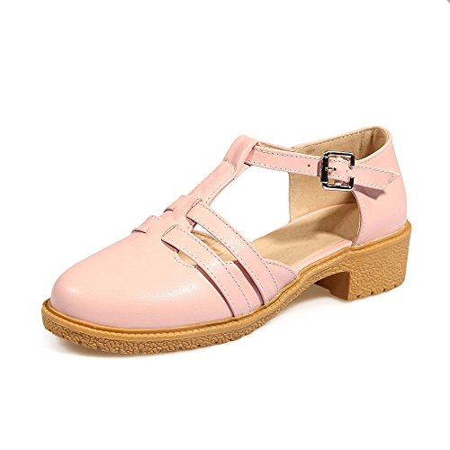 AllhqFashion Women's PU Solid Buckle Closed Toe Low-heels Sandals, Pink, 42 by AllhqFashion