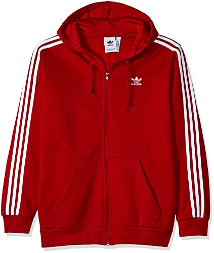 Red Full Zip Hoodie - adidas Originals Men's 3-Stripes Full Zip Hoodie, Power red, X-Large