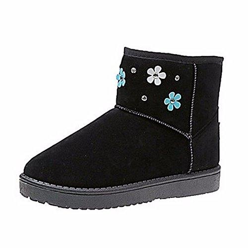 ZHUDJ Damen Schuhe Winter Stiefel Absatz Runder Strass Für Casual Kleid Rot Pink Grau Schwarz Black