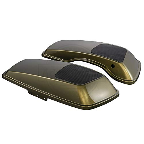 Advanblack Olive Gold 6 x 9 inch Saddlebag Speaker Lids Audio Covers Fit for Harley Touring Road Street Glide Hard Saddle Bags 2014 2015 2016 2017 2018 2019 ()