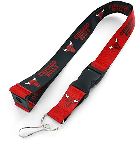 aminco NBA Chicago Bulls Reversible Lanyard, Red/Black