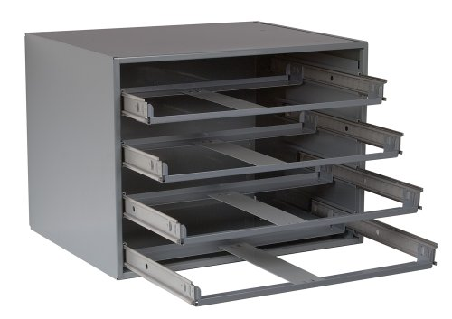 "Durham 303-95 Gray Cold Rolled Steel Easy Glide Slide Rack for 4 Large Compartment Box, 20"" Width x 15"" Height x 15-3/4"" Depth"
