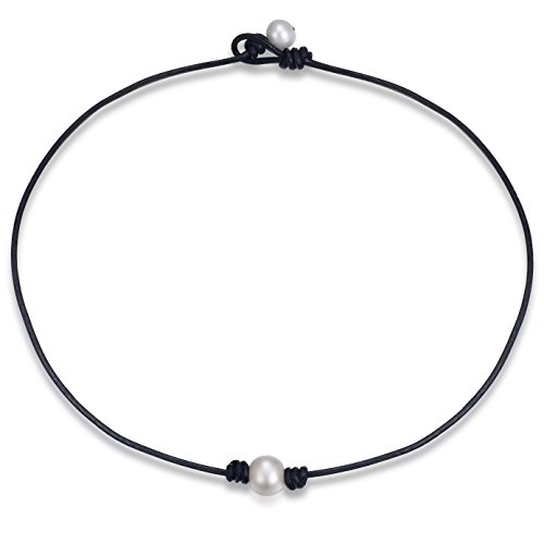 Areke Single Freshwater Pearl Choker Necklace for Women,Leather Cord Jewelry Handmade 14-18