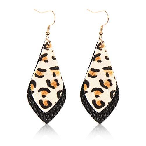 RIAH FASHION Vintage Bohemian Drop Earrings - Tribal Boho Dangles Wired Arrow Spear/Antique Feather/Leaf (Double Petal - Leopard/Black)