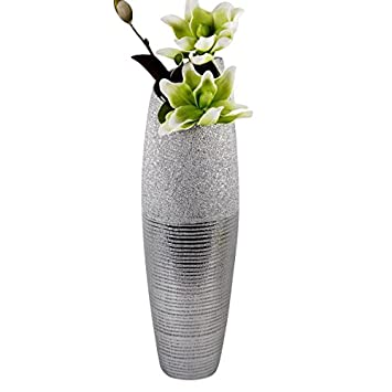 Amazon De Moderne Deko Vase Bodenvase Aus Keramik In Silber Hohe 60 Cm