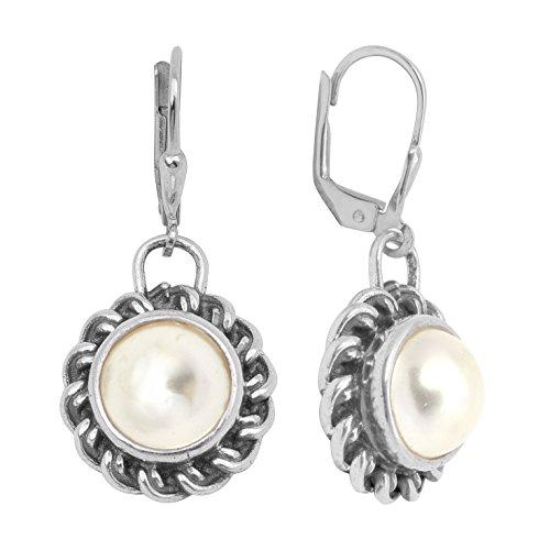 Shine Jewel Solid 925 Sterling Silver Pearl Dangle Jewelry Earring