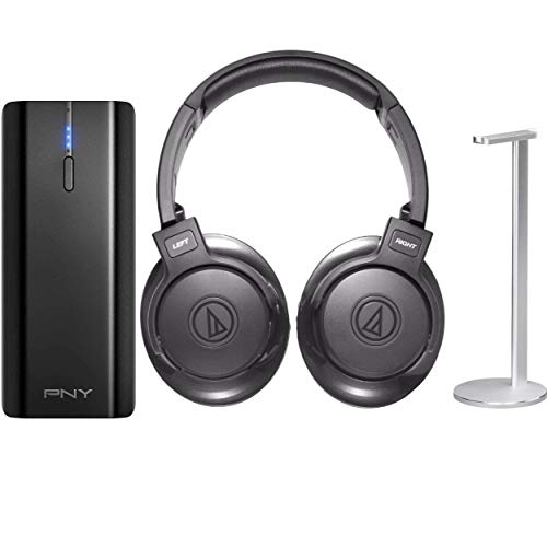 Audio-Technica SonicFuel Bluetooth Over-Ear Headphones with Portable Charger and Headphone Stand