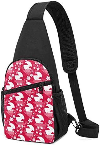 ボディ肩掛け 斜め掛け 幾何の図案 花柄と月 ショルダーバッグ ワンショルダーバッグ メンズ 軽量 大容量 多機能レジャーバックパック