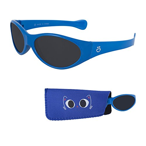 Sunglasses for Babies – Smoked Lenses - Reduces Glare, 100% UV Protection for Infants and Toddlers Ages 1 Month to 3 Years - Shiny Light Blue Frame - Matching Pouch - Glasses Frames Lite