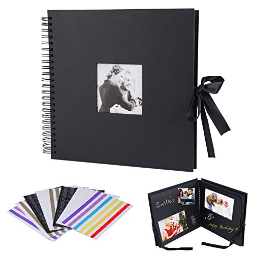 12x12 inch Scrapbook, Morfone DIY Photo Album with Photo Opening 80 Pages Wedding Guest Book Anniversary Baby Shower Travel Memory Book (Black, Photo Corners Included)