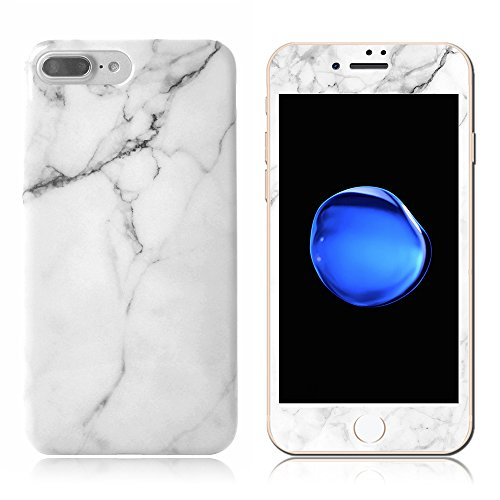 Price comparison product image iphone 6/6S Case With Screen Protector, AICOO 2-in-1 Marble Pattern Case Cover With 0.2mm 9H 3D Full Coverage Tempered Glass Screen Protector For iphone 6s/6 4.7 inch, White