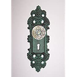 """ABC Products"" - Heavy Cast Iron - Colonial Rustic - Key Hole Door Lock Plate - Wall Hanging Decoration or Hook - ( Dark Rustic Primitive Green Color Finish - Old Vintage Design)"