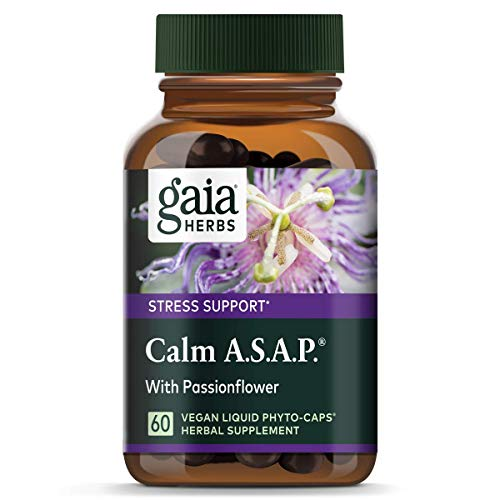 Gaia Herbs Calm A.S.A.P, Vegan Liquid Capsules, 60 Count - Natural Calming Supplement to Help Reduce Occasional Anxiousness & Tension, Non Drowsy, Non Habit Forming with Lavender, Holy Basil