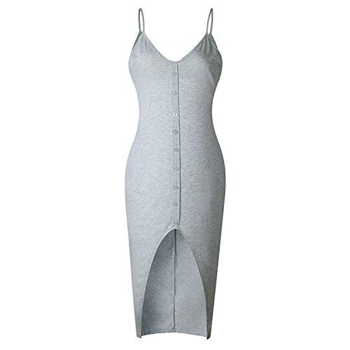 V Neck Solid Split Dress Women Sleeveless Casual Summer Dress New Sling Dresses Robe Femme Party Nightclub Grey L ()