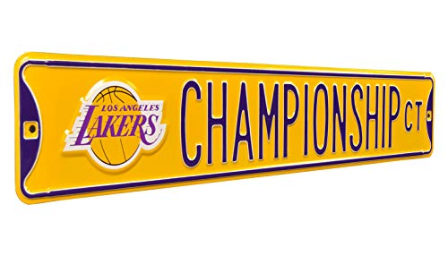 NBA Los Angeles Lakers Lakers Championship Ct Logo Street Sign, Yellow, Large