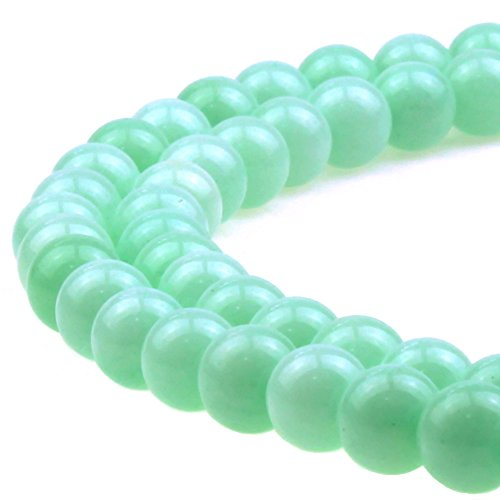 JarTc 5A Sky Blue Jade Gemstone Loose Round Beads Spacer Beads for Jewelry Making (6mm)