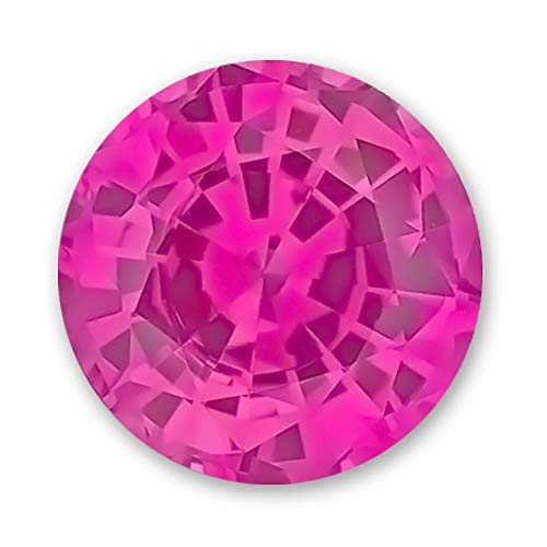 6.5mm Round Gem Quality Chatham Lab-Grown Pink Sapphire Weighs 1.19-1.45 Ct, Medium Tone.