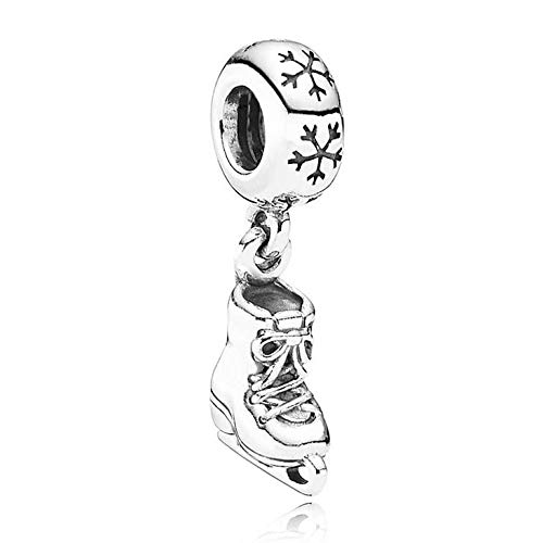 Cell's world - Authentic 925 Sterling Silver Bead Charm Ice Skate Dangle with Snowflake Pendant Beads Fit Pandora Bracelet DIY Jewelry -