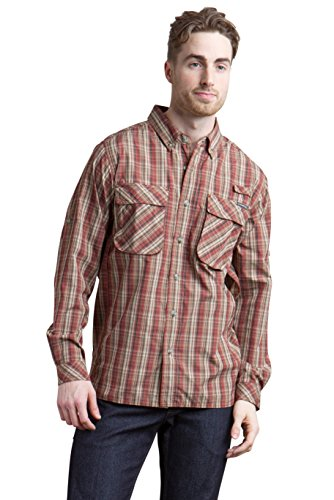 Exofficio Mens Air (ExOfficio Men's Air Strip Macro Plaid Long Sleeve, Dark Brick, Large)