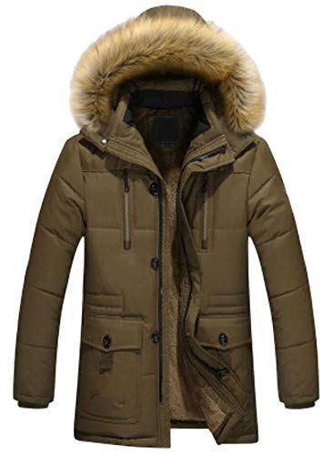 Zipper Length Armygreen Coat Mid Long Jacket Thicken Collar Winter Quilted Down TTYLLMAO Men's Faux Fur U8IwTIq