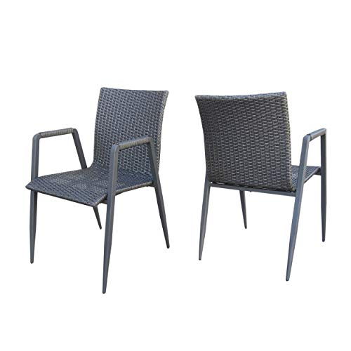 Great Deal Furniture 304141 Belle Outdoor Grey Wicker Dining Chairs (Set of 2)