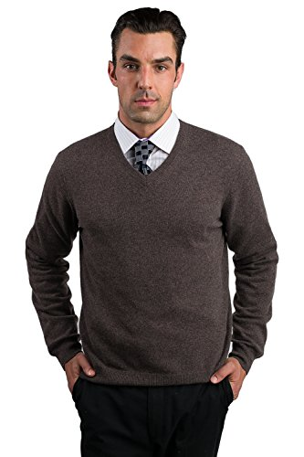Brown 100% Cashmere Sweater (JENNIE LIU Men's Cashmere Long Sleeve V Neck Sweater, Brown, Large)