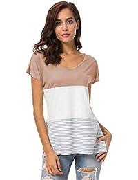 2018 New Women Summer Short Sleeve Tops Block Stripe T-Shirt Casual Blouse