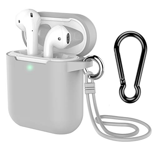 AirPods Case with Keychain, Coffea Silicone Protective Cover Skin with Stap for AirPods Charging Case 2 & 1 [Front LED Visible] (Gray)