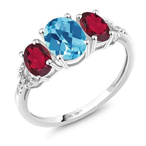 - Gem Stone King 2.02 Ct Oval Checkerboard Swiss Blue Topaz Red Mystic Topaz 10K White Gold Ring (Size 8)