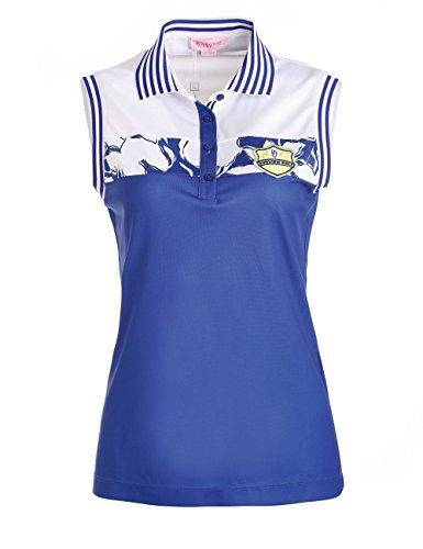 SVGレディースポロネックノースリーブコントラストカラーゴルフシャツカジュアルスポーツシャツ