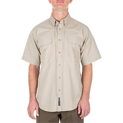 5.11 #71152 Cotton Tactical Short Sleeve Shirt (Khaki, Large) - Mens Firefighter L/s Shirt