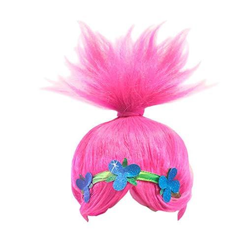 Girls Cosplay Wigs Trolls Poppy Princess Costume Hair Wig Party Head -