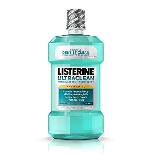 Listerine Ultraclean Oral Care Antiseptic Mouthwash with Everfresh Technology to Help Fight Bad Breath, Gingivitis, Plaque and Tartar, Cool Mint, 1.5 l, pack of 6