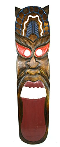 39 HANDMADE TIKI TONGUE MASK HAWAIIAN POLYNESIAN WALL ART TRIBAL BAR TROPICAL