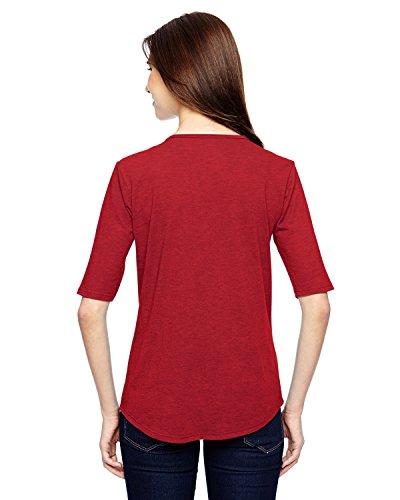 6756L diseño de yunque para mujer Tri-mezcla de espacios para de profundidad 1/2-manga rojo - Heather Red