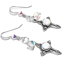 Lab Grown White Opal Swarovski Crystal Sterling Silver Cross Earrings