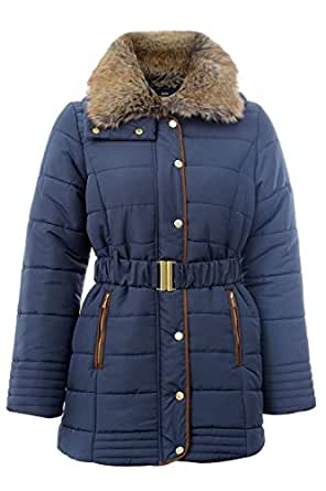 Amazon.com: New Womens Plus Size Thick Padded Hi-Fur Neck