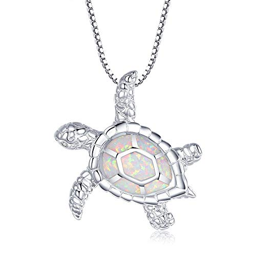 - Victoria Jewelry [Health and Longevity Rhodium Plated Silver Created White Opal Sea Turtle Pendant Necklace 18