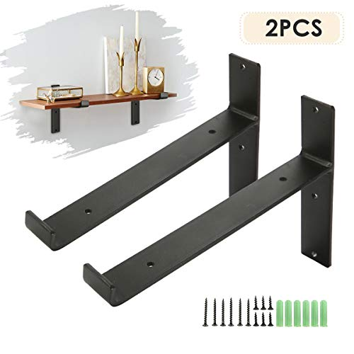 KINGSO Metal Wall Shelf Brackets 8.66''L x 6''H Rustic Shelf Supports, Flush Fit, Hardware Only - Bracket Set of 2, Includes Screws & Wall Anchors T-Shape(with Lip) ()