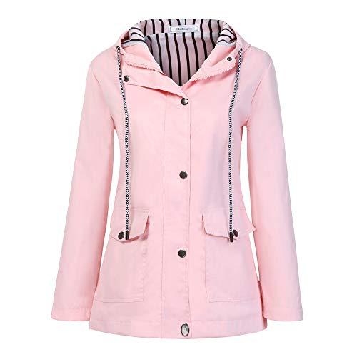 - DaySeventh Women Solid Rain Jacket Outdoor Plus Waterproof Hooded Raincoat Windproof Pink