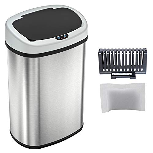 - iTouchless 13 Gallon SensorCan Touchless Trash Can with Odor Control System, Stainless Steel, Oval Shape Kitchen Bin
