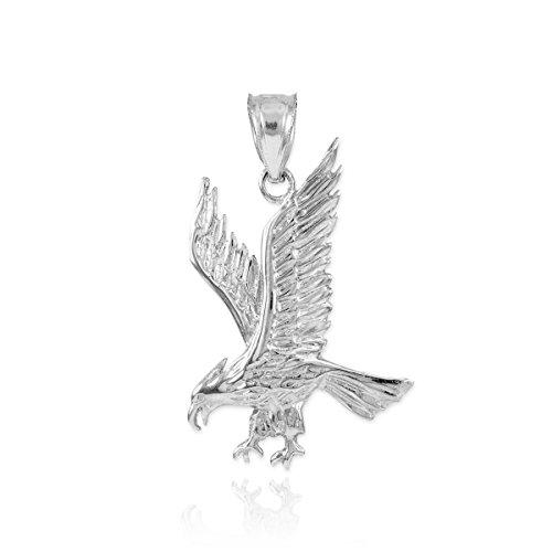 Fine 925 Sterling Silver Eagle Landing Necklace Pendant